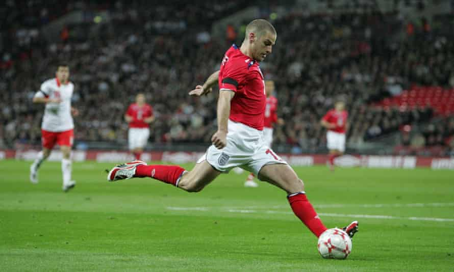 David Bentley in full flight for England at Wembley in 2008.