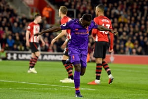 Keita celebrates his first Liverpool goal.