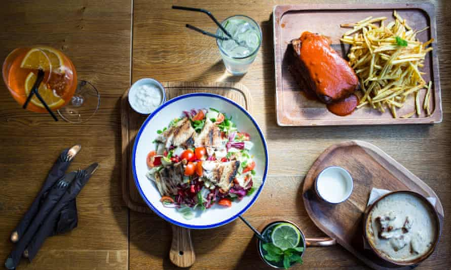 Menu selection from Zama Bistro, including trout filled salad with sour milk sauce, slow-cooked ribs and layered polenta with goat's cheese