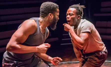 Sope Dirisu as Ogun and Jonathan Ajayi as Oshoosi in The Brothers Size by Tarell Alvin McCraney.