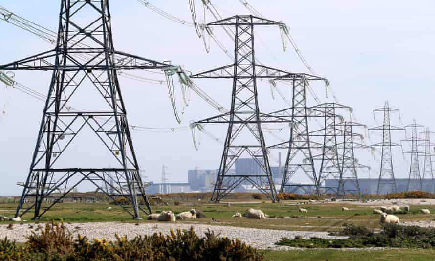 Electricity pylons carrying power away from Dungeness nuclear power station in Kent.