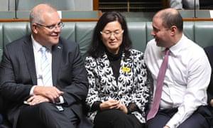 Scott Morrison in parliament with Gladys Liu and Josh Frydenberg.