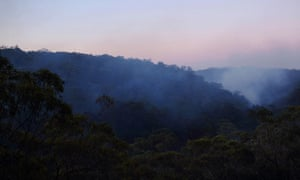 Smouldering bushland at Faulconbridge in New South Wales.