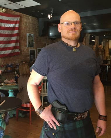 Sea Bears restaurant owner Tony Siebers would only draw the Sky semi-automatic pistol he keeps in his waistband 'if there were an emergency'.