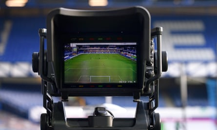 A general view of Goodison Park through the lens of a TV camera during the Premier League match between Everton and Manchester United in November 2020