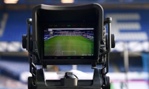 Television camera viewfinder in Goodison Park football ground