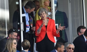 Theresa May at the Cricket World Cup match between England and South Africa at the Oval