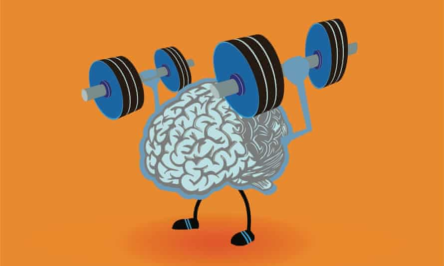 Graphic of brain lifting weights