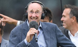 Jonathan Agnew on air from the pitch during the second Ashes Test.