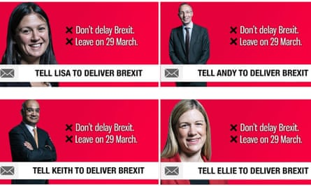 Four seemingly independent Facebook ads run by CTF, targeting voters in Labour constituencies.