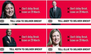 Adverts placed on Facebook by Britain's Future