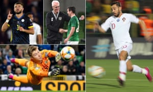 Kosovo's Valon Berisha celebrates after scoring against England; Ireland manager Mick McCarthy greets Josh Cullen after their 3-1 friendly victory over Bulgaria. Portual's Bernardo Silva surges forward against Lithuania, Northern Ireland keeper Bailey Peacock-Farrell makes a save against Germany.