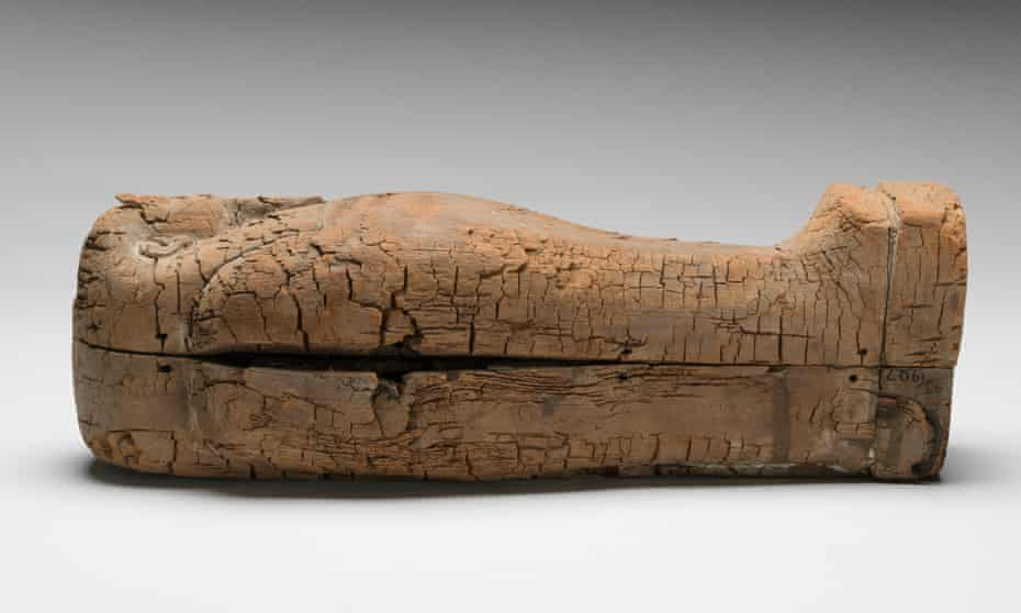 The cedar wood coffin, excavated in 1907, dates back to 600BC.