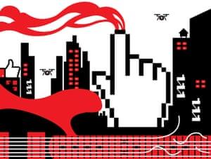 Illustration by Bryan Mayes of a digital city