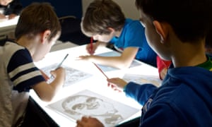 Drawing with a lightbox with Marie-Helene Jeeves at the Guardian Education Centre Cartoon and art family day 17 November 2018