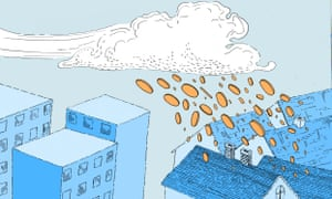 illustration of money coming from cloud