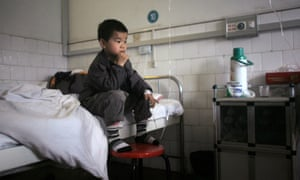 A child diagnosed with having excessive lead in his blood receives treatment at a hospital in Chenzhou, China.