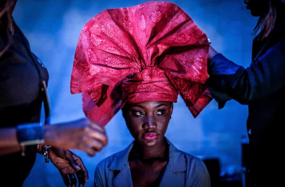 Model Nafissatou Gningue backstage at Dakar fashion week