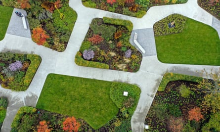 An aerial view of the Hepworth Gallery garden in Wakefield.