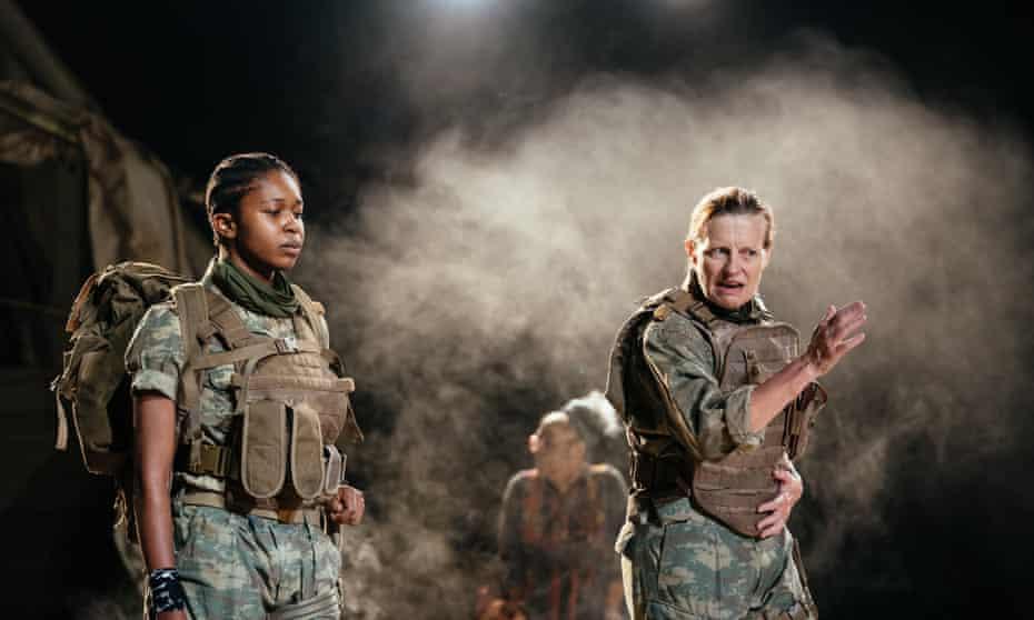 Gloria Obianyo as Neoptolemus and Anastasia Hille as Odysseus.