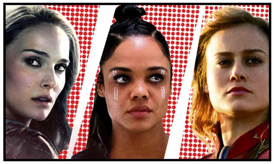 Natalie Portman in Thor, Tessa Thompson as Valkyrie and Brie Larson in Captain Marvel.