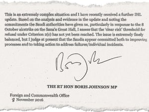 A letter from Boris Johnson to Liam Fox abut Saudi Arabia export licensing.