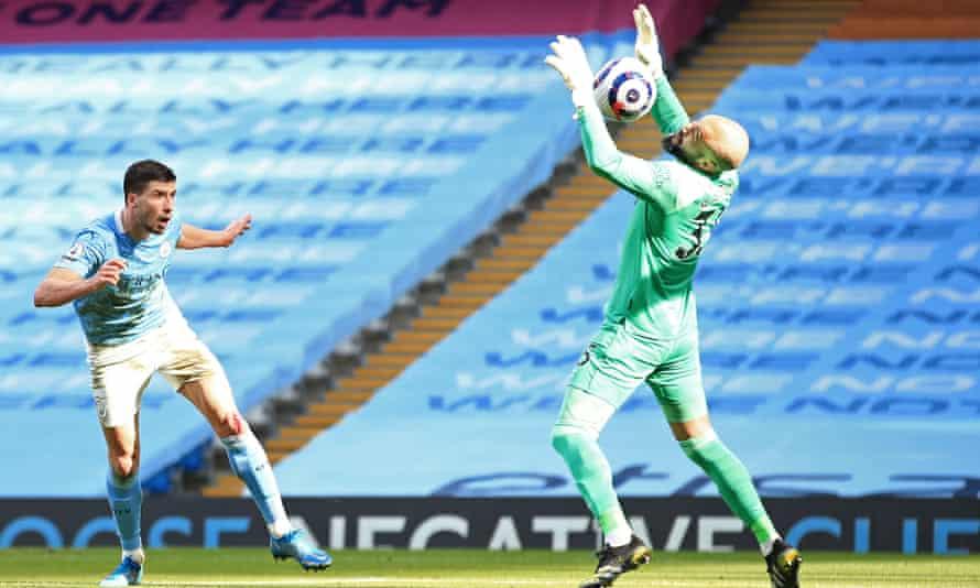 Rúben Dias heads the ball beyond Darren Randolph.