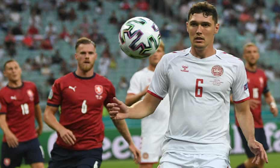 Denmark's Andreas Christensen stays focused during the 2-1 quarter-final victory over the Czech Republic which has set up the meeting with England.