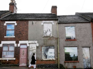 Boarded-up houses in Hanley, Stoke-on-Trent in 2009.