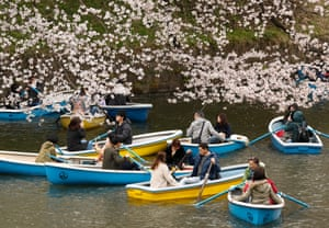 Boats on the water of Chidorigafuchi moat in Tokyo