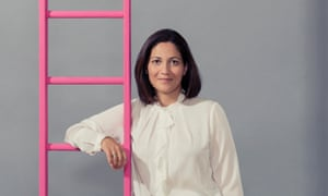 Mishal Husain with a pink ladder