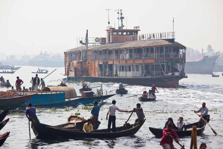 Boats on the Buriganga River in Bangladesh.
