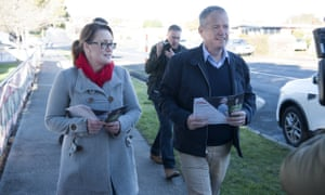 Labor candidate for Braddon Justine Keay with opposition leader Bill Shorten