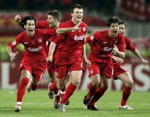 Xabi Alonso and his Liverpool teammates celebrate winning the Champions League final in Istanbul in 2005.