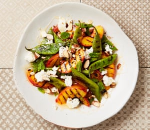 Yotam Ottolenghi's grilled peaches and runner beans with goat's cheese.