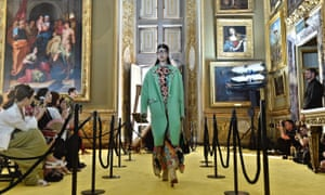 A model on the catwalk inside the city's magnificent Palazzo Pitti