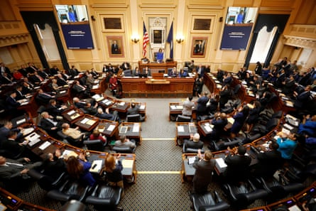 Virginia's house of delegates listens to its new speaker, Eileen Filler-Corn, as the general assembly convenes in Richmond on 8 January.