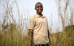 Former teacher turned park ranger Marie Louise Nyangui Mbaki is being trained by the British army in anti-poaching techniques.