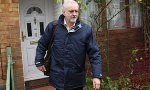 Jeremy Corbyn leaves his home in London ahead of a crucial shadow cabinet meeting.
