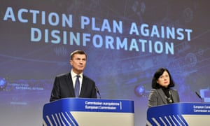 Andrus Ansip, left, and Vera Jourova hold a press conference in Brussels