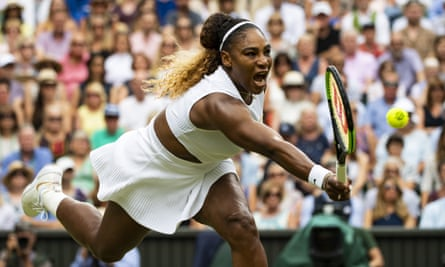Serena Williams plays a shot in the Wimbledon women's final match