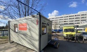 A coronavirus pod at the John Radcliffe hospital in Oxford.