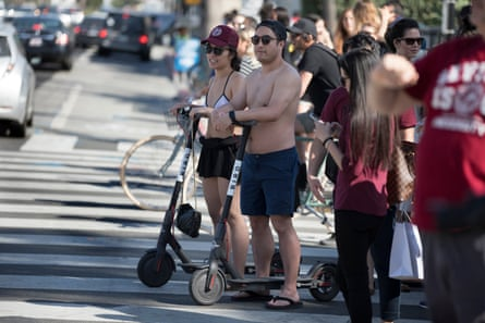 Bird scooter riders in Santa Monica, California on 14th April 2018.