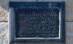The inscription on the front of the Captain Cook obelisk at Kurnell on the shore of Botany Bay.