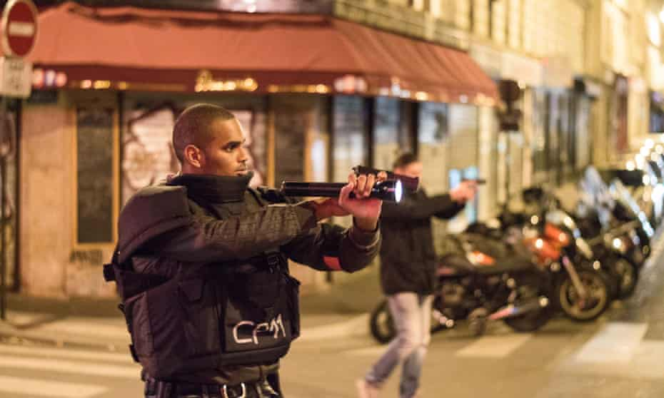 Armed officers in Paris during the gun attacks in November.