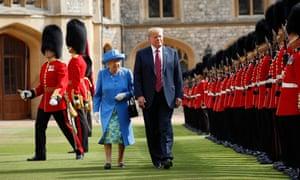 Donald Trump and Queen Elizabeth inspect the Guard of Honour at Windsor Castle (AP Photo/Pablo Martinez Monsivais)