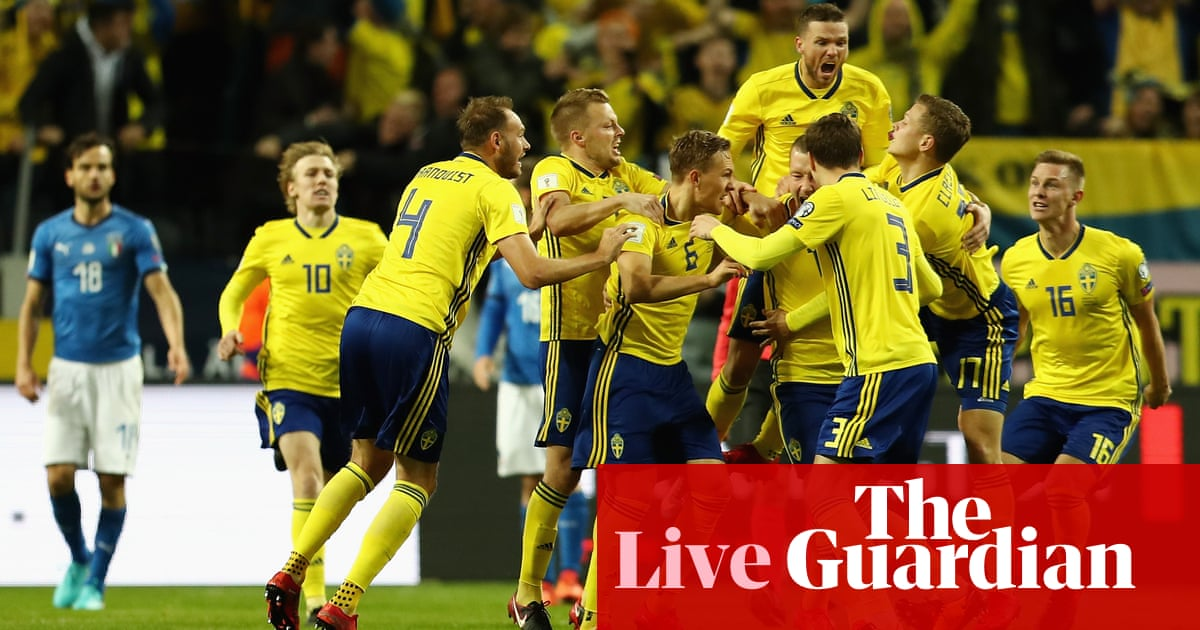 111b82a5cd0 Sweden 1-0 Italy  World Cup play-off first leg – as it happened ...