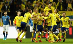 Sweden's Jakob Johansson celebrates after scoring the opening goal.