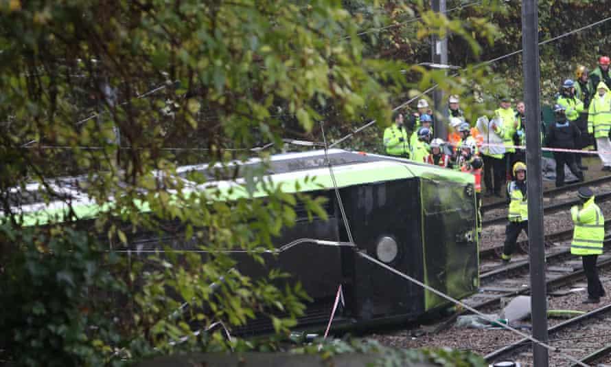 The scene after tram overturned in Croydon in November 2016