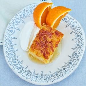 Orange and broken filo pastry pie cake.